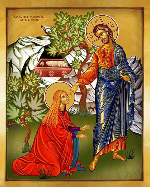 MARY THE MAGDALEN AT THE TOMB   Icon by Chady Elias   Holy Brush