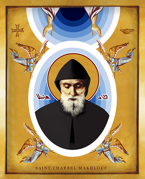 St Charbel Makhlof With The Angels | Icon By Chady Elias | Holy Brush