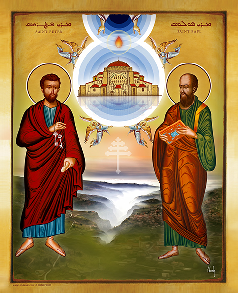 St. Peter & St. Paul Over The Valley Of Saints Quanoubine Lebanon | Icon by Chady Elias | Holy Brush
