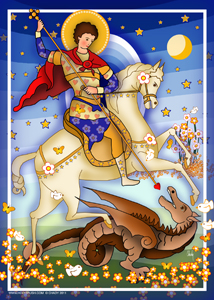 Saint George The Dragon Modern | Icon by Chady Elias | Holy Brush