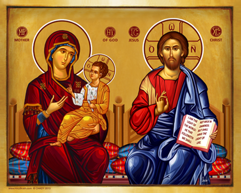 Christ and the Virgin Throne Bust | Icon by Chady Elias | Holy Brush