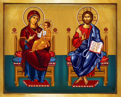 Christ and the Virgin Throne | Icon by Chady Elias | Holy Brush