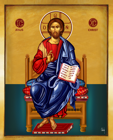 Jesus Christ on the Throne | Icon by Chady Elias | Holy Brush