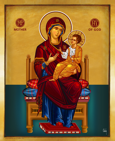 Mother of God on the Throne | Icon by Chady Elias | Holy Brush