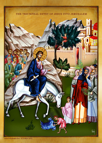 The Triumphal entry of Jesus into Jerusalem | Icon by Chady Elias | Holy Brush