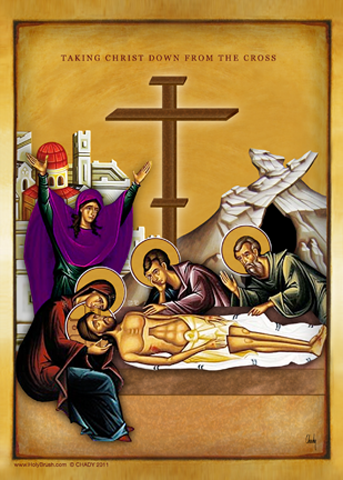 Taking Christ Down From The Cross | Icon by Chady Elias | Holy Brush