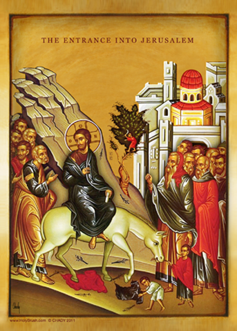 The Entrance Into Jerusalem, Byzantine Icon| Icon by Chady Elias | Holy Brush