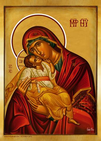 The Salutation to The Theotokos | Icon by Chady Elias | Holy Brush