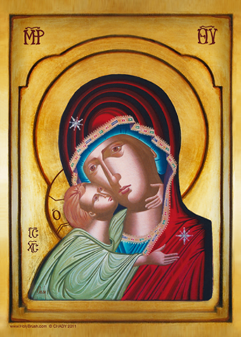 The Virgin of Tenderness, Sweet Kissing, Byzantine | Icon by Chady Elias | Holy Brush